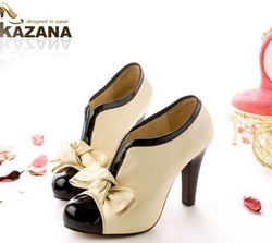 Free shipping high heel shoes new sexy lady H023 beige bow pump platform women free shipping size 35-43 wholesale 40% OFF(China (Mainland))