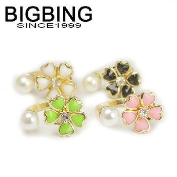 BigBing Fashion Lovely flower ring fashion pearl ring purple green pink black white NO nickle fashion jewelry KR002