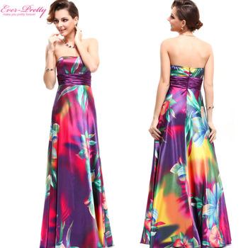 09603 Strapless Разноцветный Атлас Printed Empire Line Formal Длинный Evening Dress ...