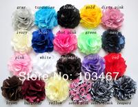 30pcs/lot Lowest Price -21 colors 3'' Satin Mesh Flowers Without Hair Clip Wholesale