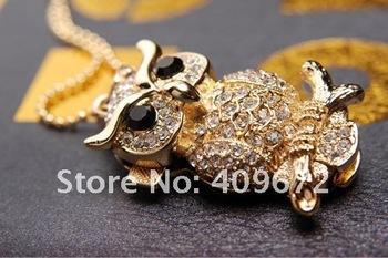 retail genuine 2GB/4GB/8GB/16GB/32GB usb flash memory stick usb flash drive diamond owl jewelry Free shipping+Drop shipping