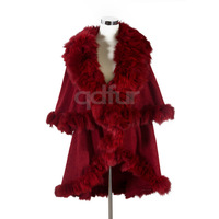 Wedding Shawl Genuine Fox Fur Pashmina Shawls Charm Bridal Wrap Fur Coat Wedding Party for womenFree Shipping QD6917