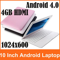 Free Shipping Newest 10 inch Laptop Android 4.0 VIA8850 Netbook Mini Laptop With Camera 512MB 4GB HDMI