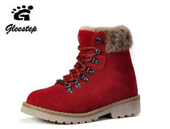 Fashion Lady's outdoor winter wool warm snow ankle Martin boots,high top antifur cow leather work shoe,Rubber outsle,Red,35-40