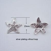 (M0431) 23mm diameter metal rhinestone embellishment ,flat back,sillver or light rose gold plating