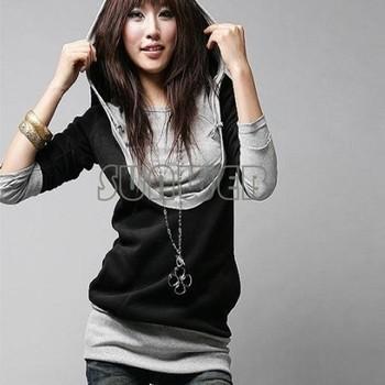 2014 Korea Women's Sweatershirts Fashion Long Sleeve Shirt Cotton Tops Hoodies Coat Outerwear Black Gray free shipping 24