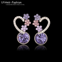 High Quallity Austria Purple Crystal Earrings for Women White Gold Plated
