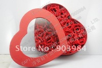 18PCS HEARTS SHAPED CARDBOARD BOX SCENTED ROSE SOAP FLOWERS