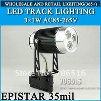 LED Track Lighting 3x1W Epistar 35mil AC85-265V 3W 300-330LM Warm White / Cool White Free Shipping/DHL