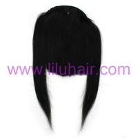 New Fashion Women's Clip on Front Inclined Bang Human Hair Extension Fringe #01