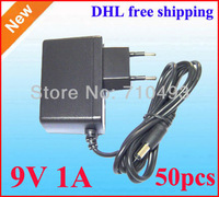 DC 9V 1A 1000mA Power Adapter Supply Charger adaptor 50pcs EU Plug DHL free shipping