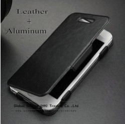 Ultrathin Flip Leather case for iphone 4s 4g 5g hybrid Aluminum cover inside ,Unique flip cover for iphone 5g with free gift(China (Mainland))