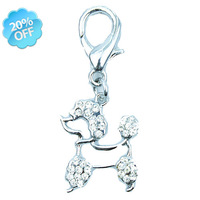 Free Shipping! Wholesale MOQ 20 pcs Rhinestone Poodle pet charms attach to collars Clear Color