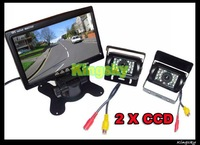"2x 18 IR LED CCD Reversing Backup Camera + 7"" TFT LCD Monitor Car Rear View Kit Free 10m video Cale"