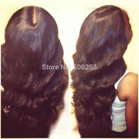 Stock Body Wave Peruvian Virgin Human Hair Full Lace Wigs Natural Black Color