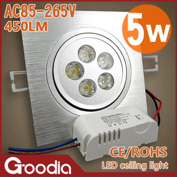 Free shipping CREE 5W Led ceiling light AC85~265V CE&ROHS Cool/Warm white 450lm 2 Years warranty 5W Led Indoor light
