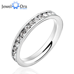 BUY ONE GET ONE FREE Wholesale jewelry womans 316L Stainless Steel .1CT rings Eternity Ring, Free Shipping, #RI100189(China (Mainland))
