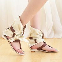 Factory Directly Price Hot selling Summer Casual Women&#39;s Flat Sandals Cloth Clip Toe Rome Style 34-43 Max Size Free Shipping