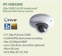 2.0 Megapixel CMOS Full HD Water-proof Network Mini Dome Camera, 1080P IP CAMERA IPC-HDB3200C, Free shipping