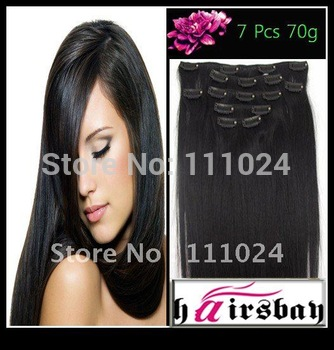 cheap real human hair extension,7(8)PCS,PER SET factory sale Great length Black 1b clip in extensions