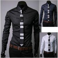 Free shipping!!! Mens Designer Stripes Dress Shirts Tops Casual Slim long shirts 5912