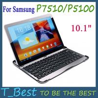 "Aluminium Bluetooth Keyboard Case for Samsung Galaxy Tab/Tab 2 10.1"" P7510/P5100,Free Shipping+Drop Shipping"
