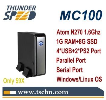 Intel Atom N270 Cheap Windows Mini PC MC100 with 1G RAM 8G SSD COM Port /LPT Port/ 4*USB2.0/ Windows XP /Win7 /Linux OS