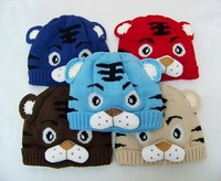 Hot Baby tiger hats Beanie Animal hats Kids Beanies Winter Warm Knitted hat Crochet hat 10pcs H001
