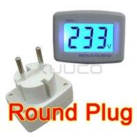 LCD 110V 220V AC Digital Voltage Voltmeter Household Factory 80-300V EURO Round Plug Volt Power Monitor AC Panel Meter Detector