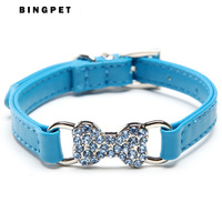 Free Shipping! Wholesale MOQ 12pcs Bling Bone Dog Collars 3 Colors Available