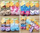 6 designs Animal Baby Socks Baby Outdoor Shoes Anti-slip Walking Sock Cotton infant socks kid's gift 12pairs/lot size 0-2(China (Mainland))
