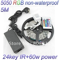 Free Shipping 5M 5050 RGB non-waterproof 300 Led 60 led/Meter + 24 Key IR remote Controller+12V 5A Power Supply led kit