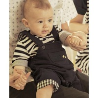 Parent-child loaded son paragraph two piece set:T-shirts+ Suspender pants