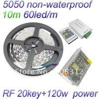 Free Shipping 10M 5050 RGB non-waterproof Flexible Strip 60 led/Meter + RF 20 key Controller+12V 10A Power Supply
