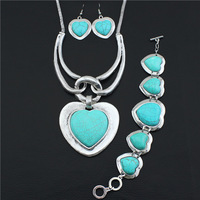 Vintage Look Tibetan Silver Alloy Classic Romantic Heart Shape Pendant Necklace Bracelet Earring Turquoise Jewelry Sets S026