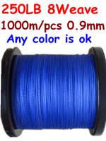 Free shipping 1000M/PCS 250LB 0.9MM 8 Strand High Quality Braided PE FISHING LINE