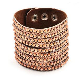 Wholesale 2014 Fashion Wrap Cuff Leather Bracelet Rhinestones Bangle Bracelets for Women B2-173