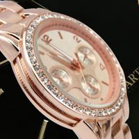 Top Quality, Weight 120g/pc,Fashion Steel Diamond Rhinestone Brand Wrist Women & Ladies Girl Gift Bracelet Watche With Logo