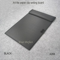 leather office desk A4 file paper clip folder drawing & writing board tablet pad with pen holder black brown A206