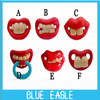 2013 New (free shipping) polybag packing red teeth shape silicon material baby pacifier / funny dummy baby soother 6pcs/lot