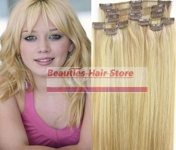 "free shipping 18""-28'' 8pcs 100g 100% human hair extensions clip in/on  #27/613"