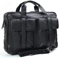 "Genuine Leather Messenger Shoulder Bags 16"" Laptop Bag Briefcase Mens Free shipping 1022"
