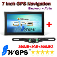 "7"" Car GPS Navigation +Sirf Altas VI Bluetooth + AV-IN +FM +MP3 MP4 + 8GB memory +258MB + Night Vision wireless  RearView camera"