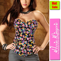 Hotsale!FREE SHIPPING 2012 Womens' Sexy Lace Up Flower Fancy Print Butterfly Overbust Bustiers & Corsets Set 4448