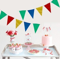 5pcs Bunting Party Decorations Birthday Party Bunting Flags Pennant/ Triangle Banners Happy Holiday Background Flags