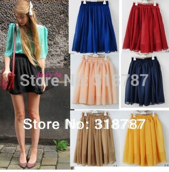 Free shipping green/blue/red/pink/yellow/navy big size fashion skirts plain chiffon high waist skirts womens for women 2014
