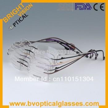 6 colors wholesale rimless  hinged optical  frames memory titanium eyeglasses 808