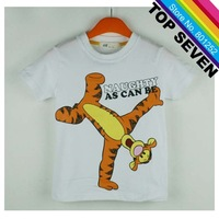 2013 New Arrive baby boys cute tigger T-shirt kids white cotton short sleeve tops toddlers casual soft clothing free shipping