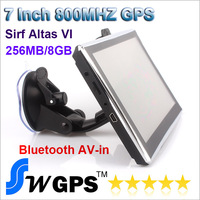 7 inch Car Gps Navigation,SIRF Atlas VI 8GB 256MB DDR3 wince6.0, Bluetooth, AV-IN, 800MHZ with US Europe Australia world maps