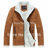 2014 new fashionable Large lapel lamb wool ultra warm loose coats for men,mens winter coats freeshipping ,M-XXL,khaki,